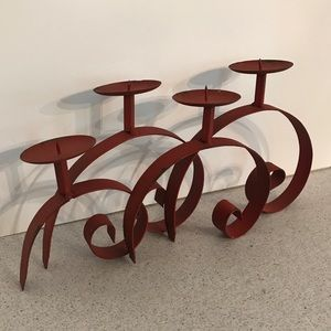 Vintage candle holder - red Painted wrought iron